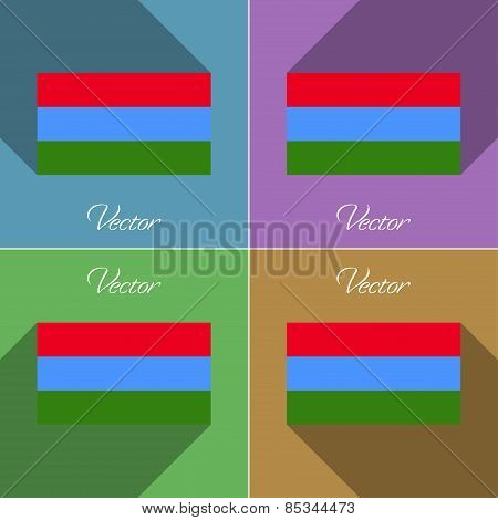 Flags Karelia. Set Of Colors Flat Design And Long Shadows. Vector