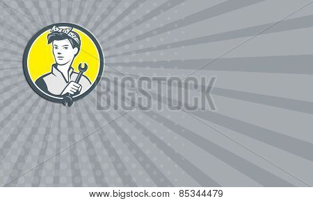 Business Card Female Mechanic Worker Holding Wrench Retro
