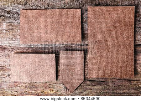 Carton cards on the wooden table