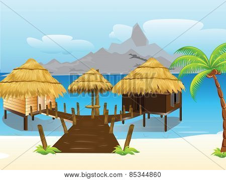 Bamboo thatch roof house