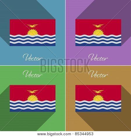 Flags Kiribati. Set Of Colors Flat Design And Long Shadows. Vector