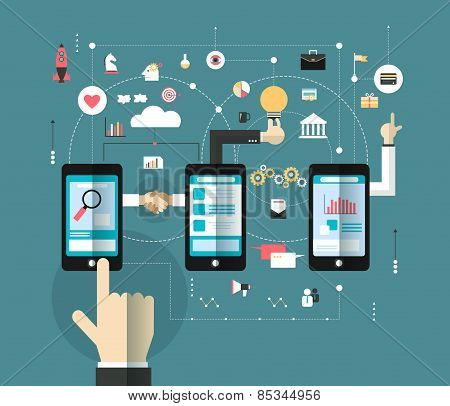Hand Of Business Man Connect The Online Space With Smartphone