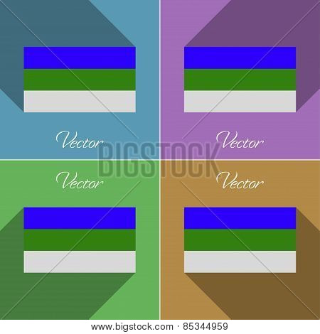 Flags Komi. Set Of Colors Flat Design And Long Shadows. Vector