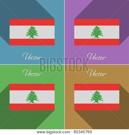 Flags Lebanon. Set Of Colors Flat Design And Long Shadows. Vector