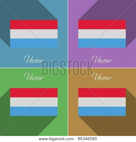 Flags Luxembourg. Set Of Colors Flat Design And Long Shadows. Vector