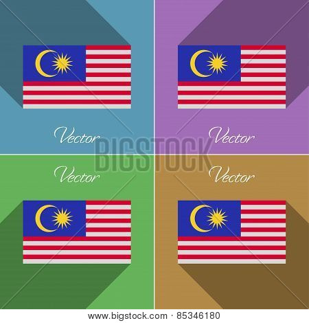 Flags Malaysia. Set Of Colors Flat Design And Long Shadows. Vector
