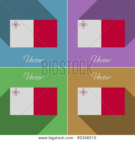 Flags Malta. Set Of Colors Flat Design And Long Shadows. Vector