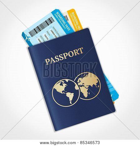 Vector passport with tickets. Flat Design