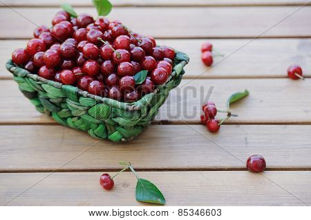 Ripe Cherries In A Basket On Wooden Table Outdoor