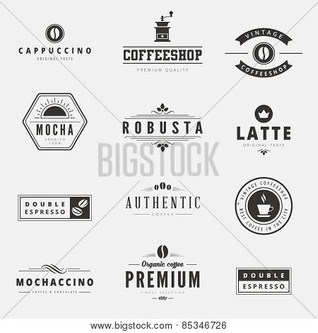 Coffee Retro Vintage Labels Logo design vector typography lettering inspiration templates.  Old style elements, business signs, logos, label, badges, stamps and symbols.