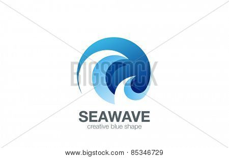 Water Wave Logo design vector template. Creative Abstract Circle Logotype concept icon.