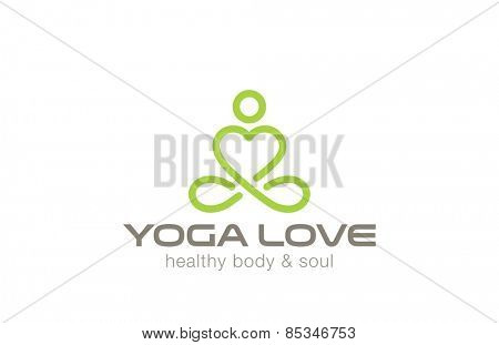 Yoga Logo design vector template. Man of Heart shape. Like & Love yoga concept icon. Meditation SPA Logotype.