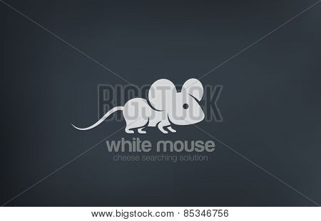 Abstract Cute Mouse Silhouette Logo design, vector template. Rat logotype icon.