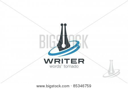 Writer Pen Logo design, vector template. Law symbol icon. Legal Lawyer Logotype concept.