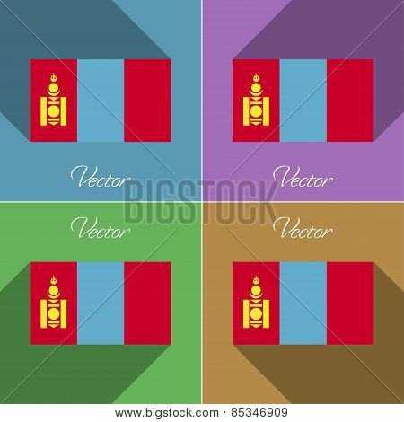 Flags Mongolia. Set Of Colors Flat Design And Long Shadows. Vector