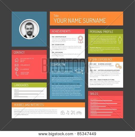 Vector minimalist cv / resume template dashboard profile - dark version
