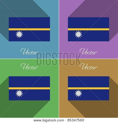 Flags Nauru. Set Of Colors Flat Design And Long Shadows. Vector