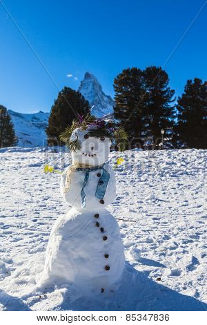 Snowman Under Matterhorn