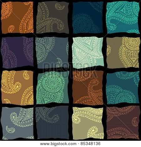 Paisley pattern in patchwork style.
