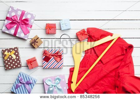 Dress With Hanger And Gifts