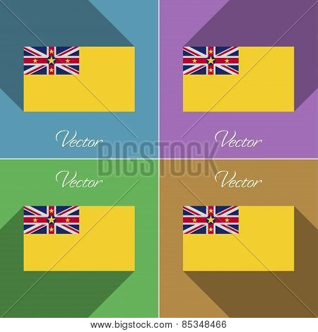 Flags Niue. Set Of Colors Flat Design And Long Shadows. Vector