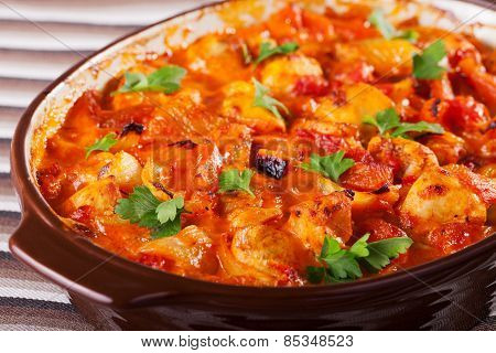 Casserole With Chicken, Potatos And Tomatos