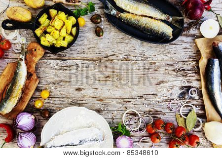 Fried herring with potatoes, Swedish traditional delicacy: strommingsflundra, herring flounder.