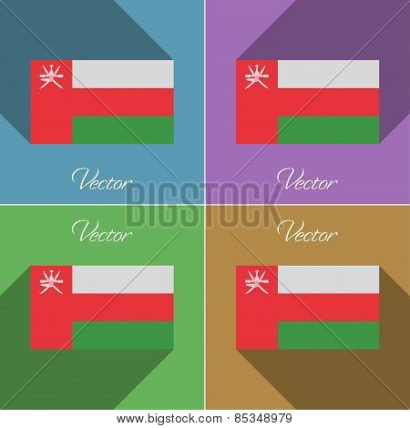 Flags Oman. Set Of Colors Flat Design And Long Shadows. Vector