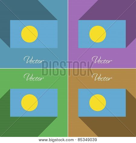 Flags Palau. Set Of Colors Flat Design And Long Shadows. Vector