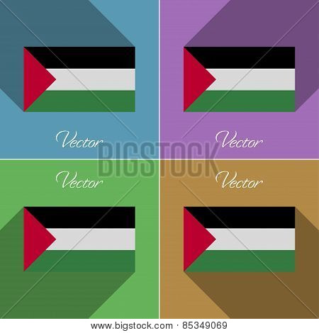 Flags Palestine. Set Of Colors Flat Design And Long Shadows. Vector