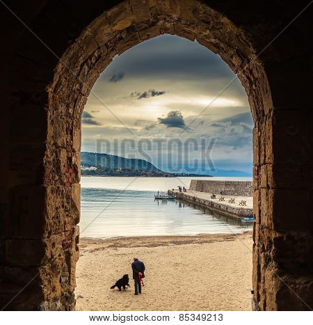 Old Cefalu Beach Through The Archway