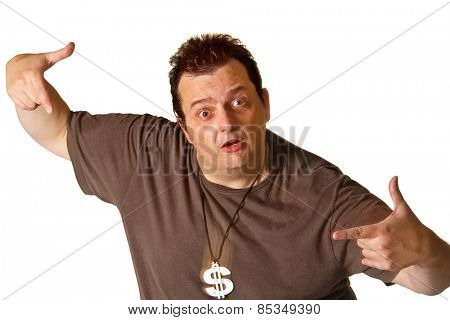 Brazilian man with a currency symbol neckless on white background.