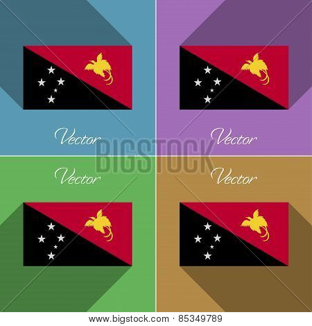 Flags Papua New Guinea. Set Of Colors Flat Design And Long Shadows. Vector