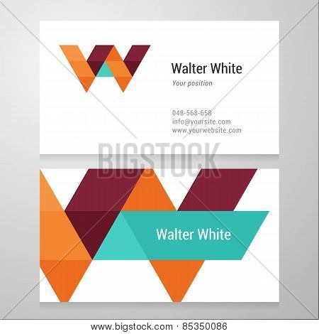 Modern Letter W Business Card Template