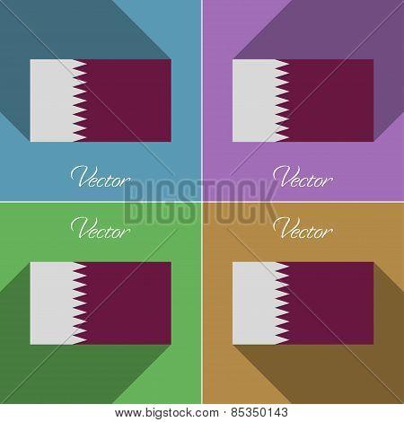 Flags Qatar. Set Of Colors Flat Design And Long Shadows. Vector