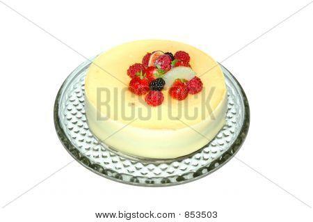 Fruit cake isolated on white