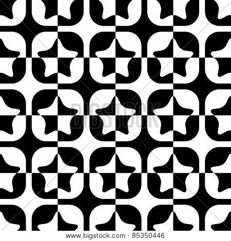 Seamless Star and Square Pattern. Abstract Black and White Background. Vector Regular Texture