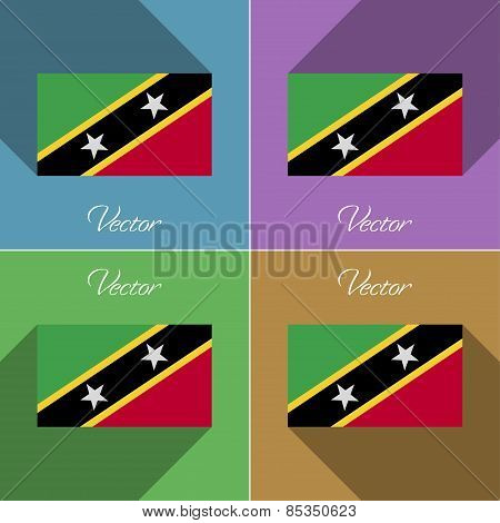Flags Saint Kitts Nevis. Set Of Colors Flat Design And Long Shadows. Vector