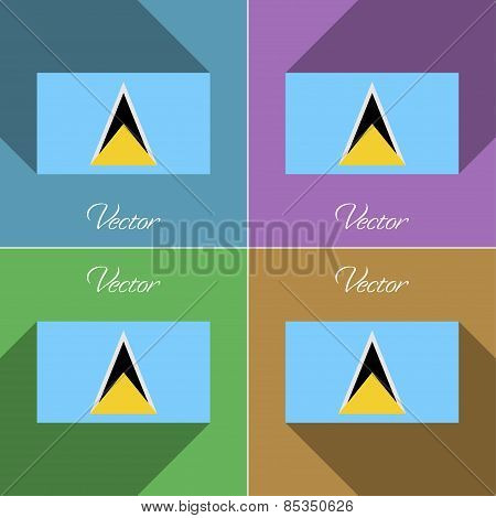 Flags Saint Lucia. Set Of Colors Flat Design And Long Shadows. Vector