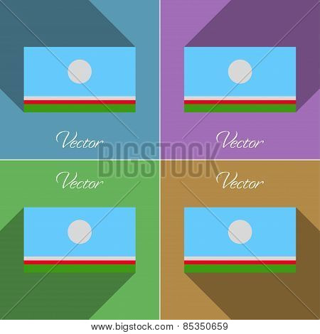 Flags Sakha Republic. Set Of Colors Flat Design And Long Shadows. Vector