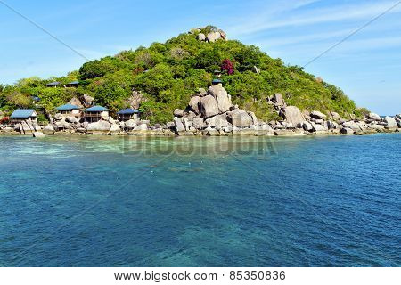 Asia Kho Tao   Rocks House Boat In Thailand   South China Sea