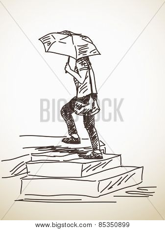 Sketch of girl with umbrella on stairs Vector illustration