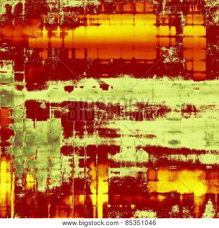 Old designed texture as abstract grunge background. With different color patterns: yellow (beige); brown; red (orange); green