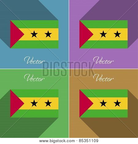 Flags Sao Tome Principe. Set Of Colors Flat Design And Long Shadows. Vector