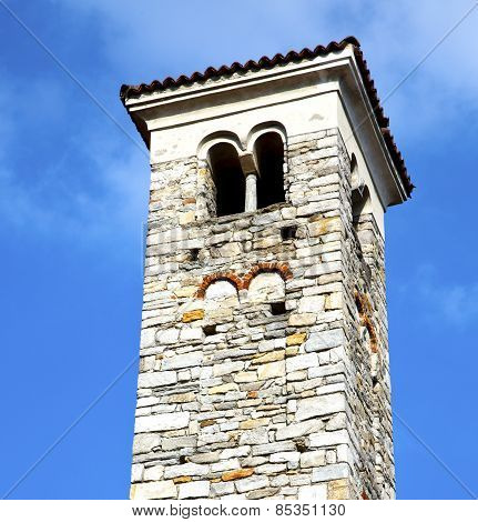 In Varano Borghi    And Church Tower Bell Sunny Day
