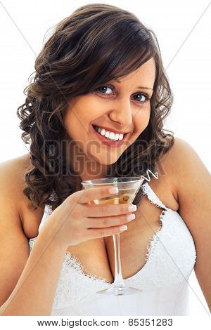 Young Bride Drinking Martini