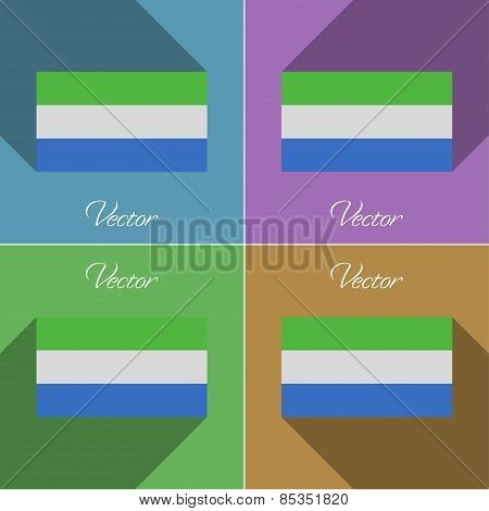 Flags Sierra Leone. Set Of Colors Flat Design And Long Shadows. Vector