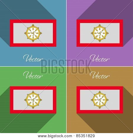 Flags Sikkim. Set Of Colors Flat Design And Long Shadows. Vector