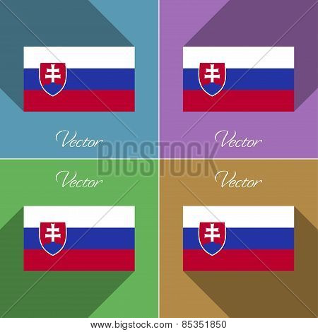 Flags Slovakia. Set Of Colors Flat Design And Long Shadows. Vector