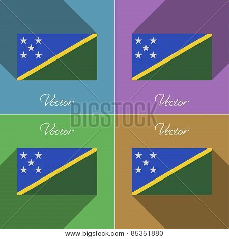 Flags Solomon Islands. Set Of Colors Flat Design And Long Shadows. Vector
